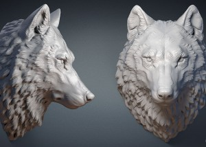 Wolf head digital sculpture, 3d model. STL for 3d printing, CNC milling, Jewelry design
