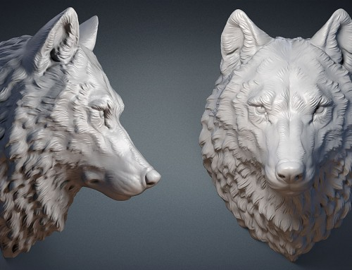 Wolf head digital sculpture. 3d model
