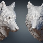 Wolf head wild animal digital sculpture, 3d model. For 3d printing, CNC milling, Jewelry design