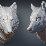 Wolf head wall mounted digital sculpture, 3d model MAX, STL, OBJ files. For 3d printing, CNC milling, Jewelry design