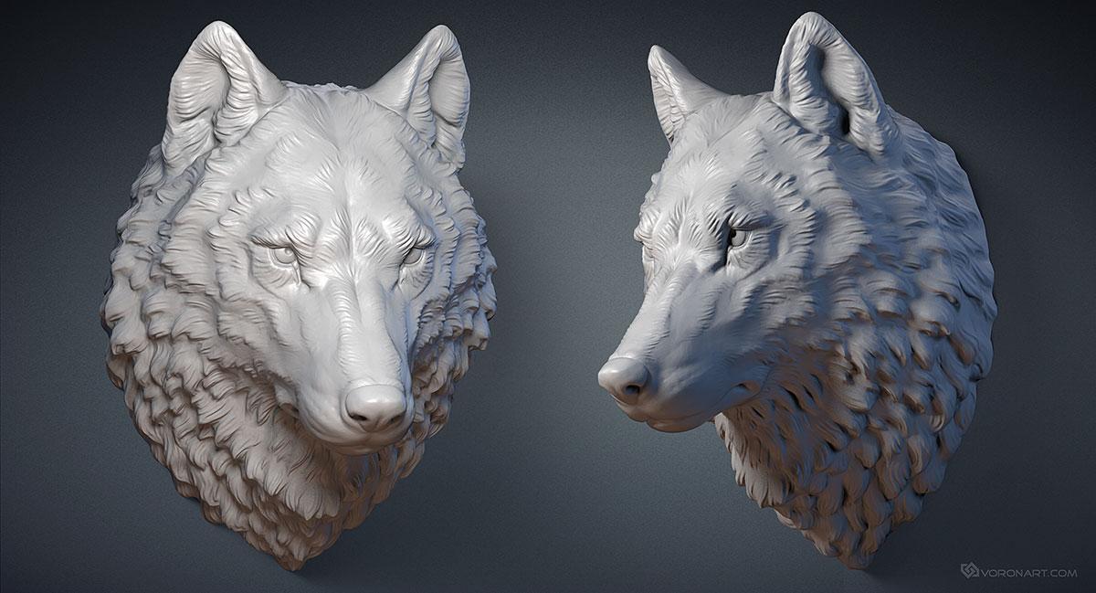 wolf head digital sculpture 3d model max stl obj files