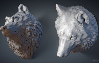 Wolf head wall mounted digital sculpture, 3d model. For 3d printing, CNC milling, Jewelry design