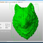 Wolf head wall mounted sculpture 3d model. 3d printing, CNC milling