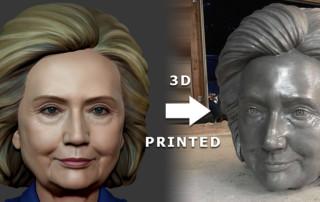 Hillary Clinton portrait 3d printed sculpture