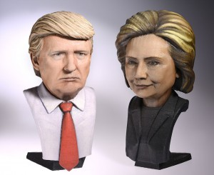 Digital sculptures of US presidential election candidates 2016, 3d printed