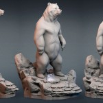 Standing Bear with a pedestal. 3D model for CNC, 3D printing, faux taxidermy making