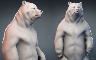 Standing Bear figure sculpture 3D model for CNC, 3D printing, faux taxidermy