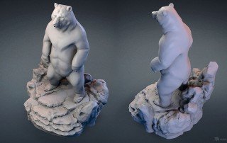Standing bear, Grizzly sculpture 3D model for CNC, 3D printing, faux taxidermy