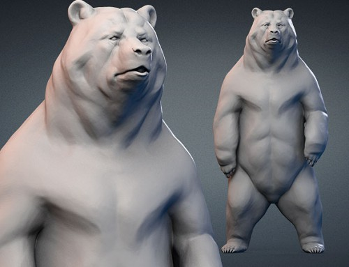 Standing bear 3d model. Digital sculpture