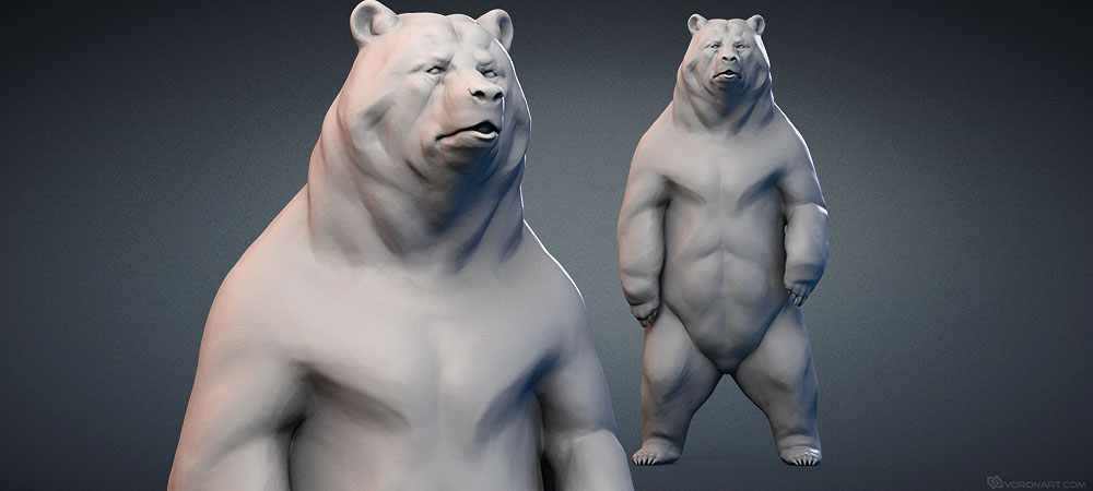 Standing Bear, Grizzly bear sculpture 3D model for CNC, 3D printing, faux taxidermy