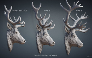 Deer, Stag, Reindeer head wall mount. Digital sculpture 3D model for 3d printing, CNC milling, Jewelry design