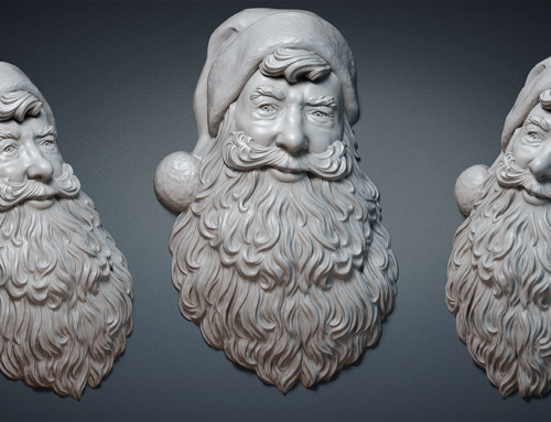 Santa Claus portrait relief. 3d model, 3d print
