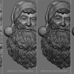 Santa Claus relief. 3D model digital sculpture for 3d printing, polycount options