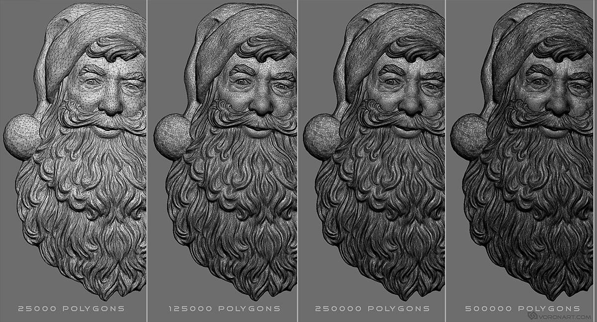 Santa Claus portrait  Relief digital 3d model for CNC, 3d