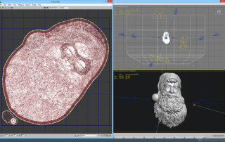 Santa Claus relief. UV unwrapped 3D model digital sculpture for 3d printing, CNC carving