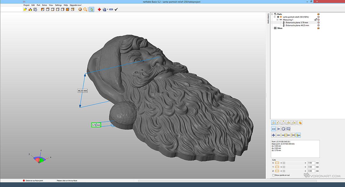 Santa claus portrait relief digital d model for cnc