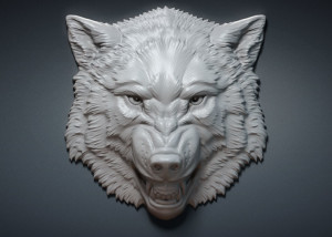 Aggressive wolf head relief. 3D model for CNC, 3d printing, Jewelry design