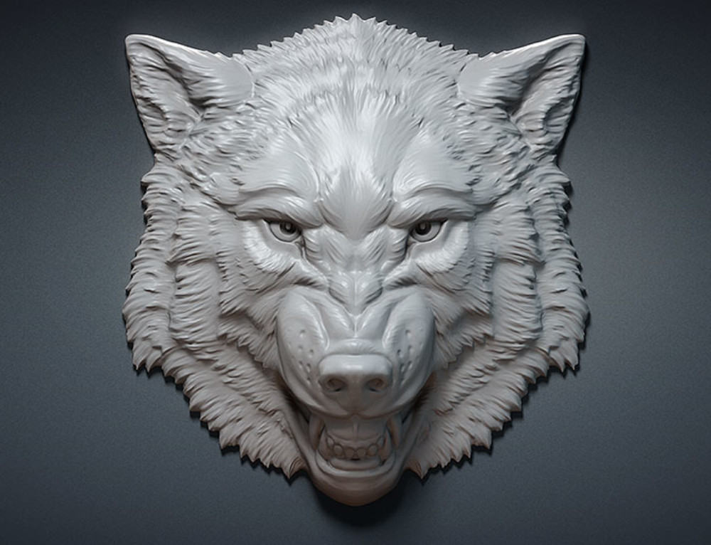 Aggressive wolf head relief. 3D model for CNC