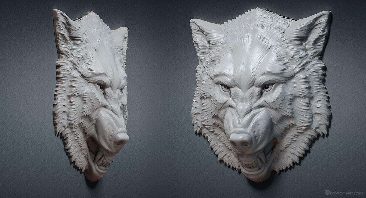 Aggressive Wolf Head Relief 3d Model For Cnc Stl Obj