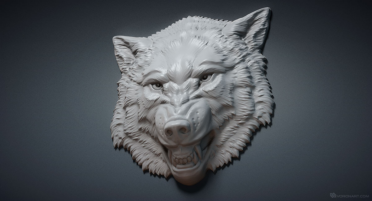 Aggressive wolf head relief d printable model digital