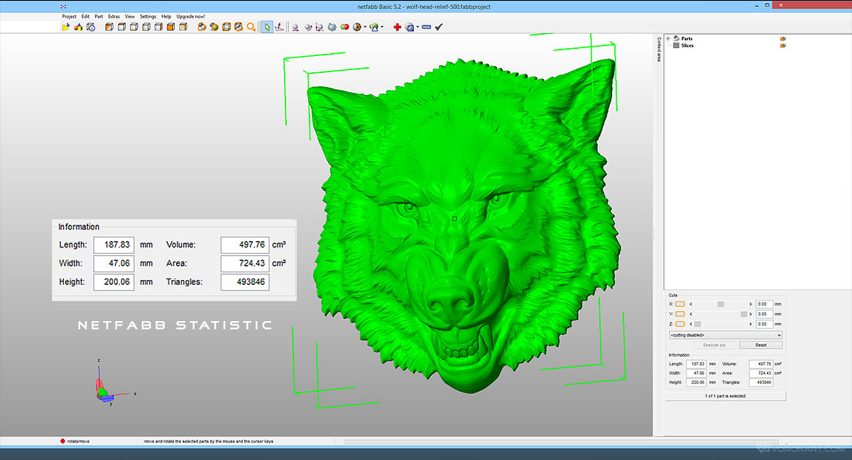 Aggressive wolf head relief 3D model for CNC STL OBJ MAX files
