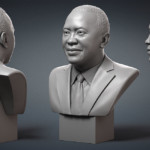 Uhuru Kenyatta portrait, president of Kenya. Digital sculpture, 3D model for 3d printing, CNC milling