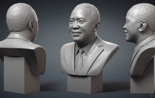 Uhuru Kenyatta. Male portrait bust for 3d printing zbrush digital sculpting
