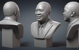 Uhuru Kenyatta portrait, president of Kenya. Digital sculpture, 3D model for 3d printing, CNC milling