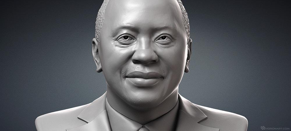 Uhuru Kenyatta sculpture portrait, president of Kenya 3D model