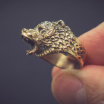 Roaring bear ring jewelry. Buy digital 3d model for 3d printing, CNC