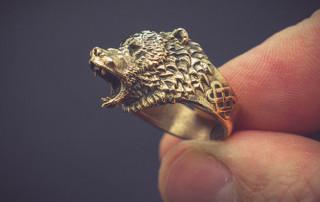Roaring bear ring jewelry. Buy digital 3d model for 3d printing, CNC