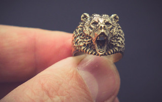 Roaring bear ring, gold, silver, bronze jewelry. Buy digital 3d model STL