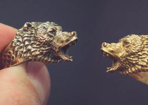 Roaring bear Ring jewelry. Buy digital 3d model STL
