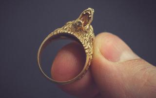 Roaring bear ring, gold, silver, bronze jewelry. Buy digital 3d model STL