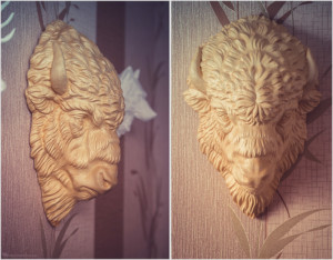 Bison head wood carving. 3D model for 3d printing, CNC carving