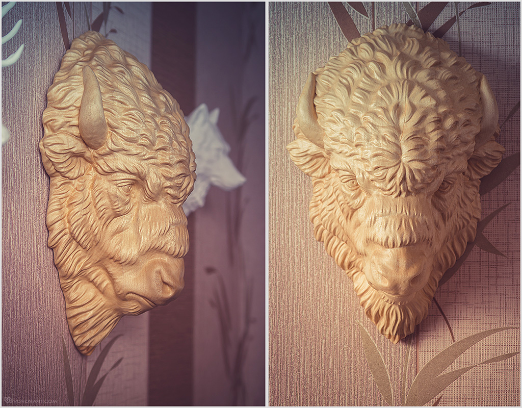 Wooden bison head cnc carved from boitafab based on our