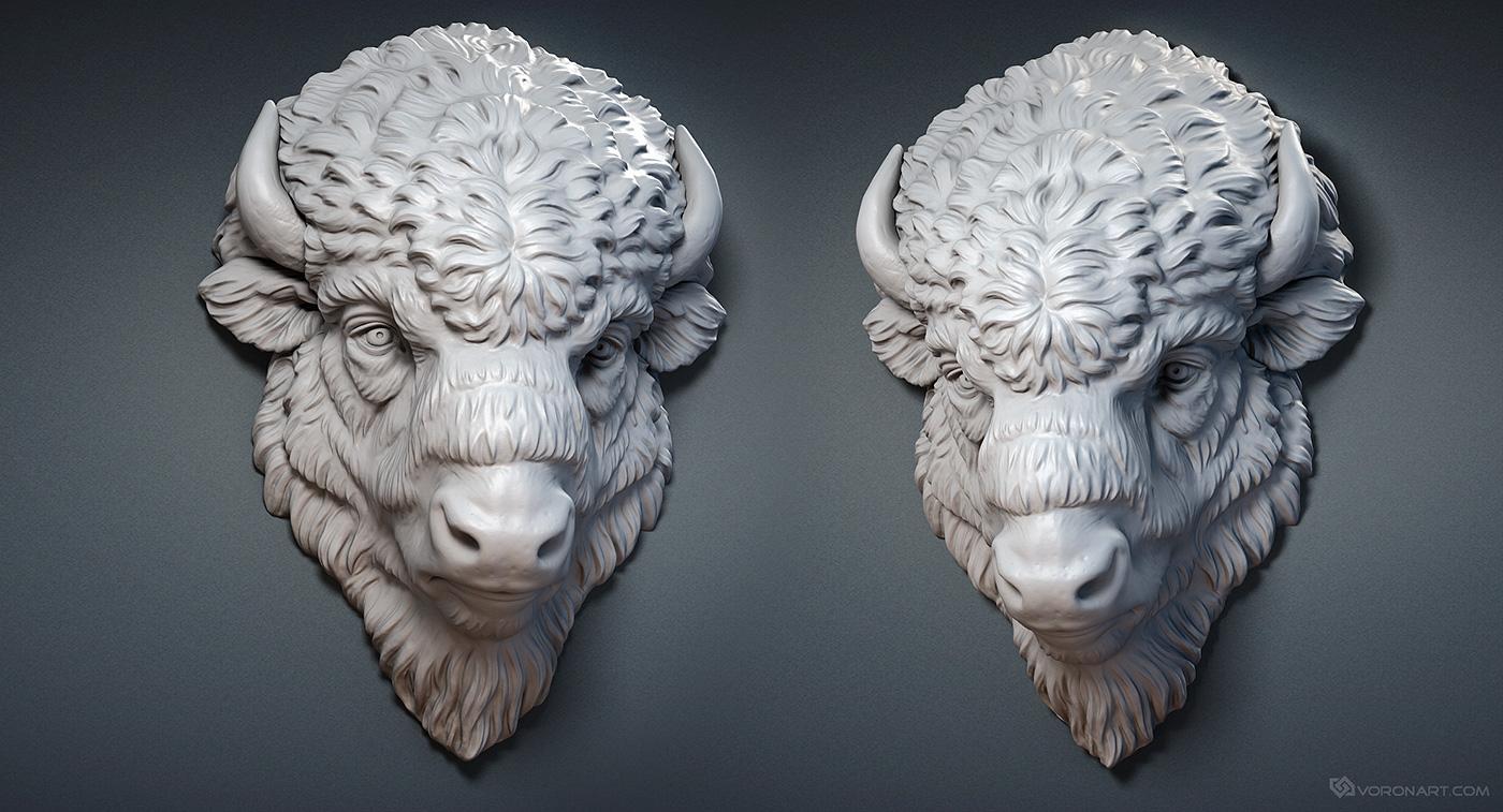Bison Face 3d Model Digital Sculpture Wood Carved And