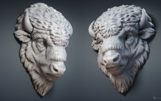 Bison face relief digital sculpture. 3D model for 3d printing, CNC carving, Jewelry design
