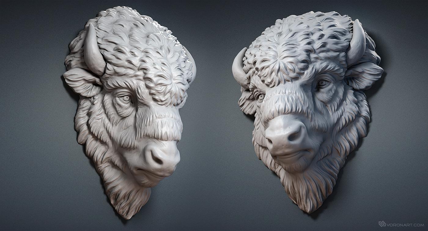 Bison face d model digital sculpture wood carved and