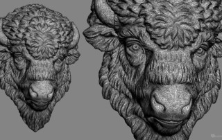 Bison head digital sculpture. 3D model for 3d printing, CNC carving, Jewelry design