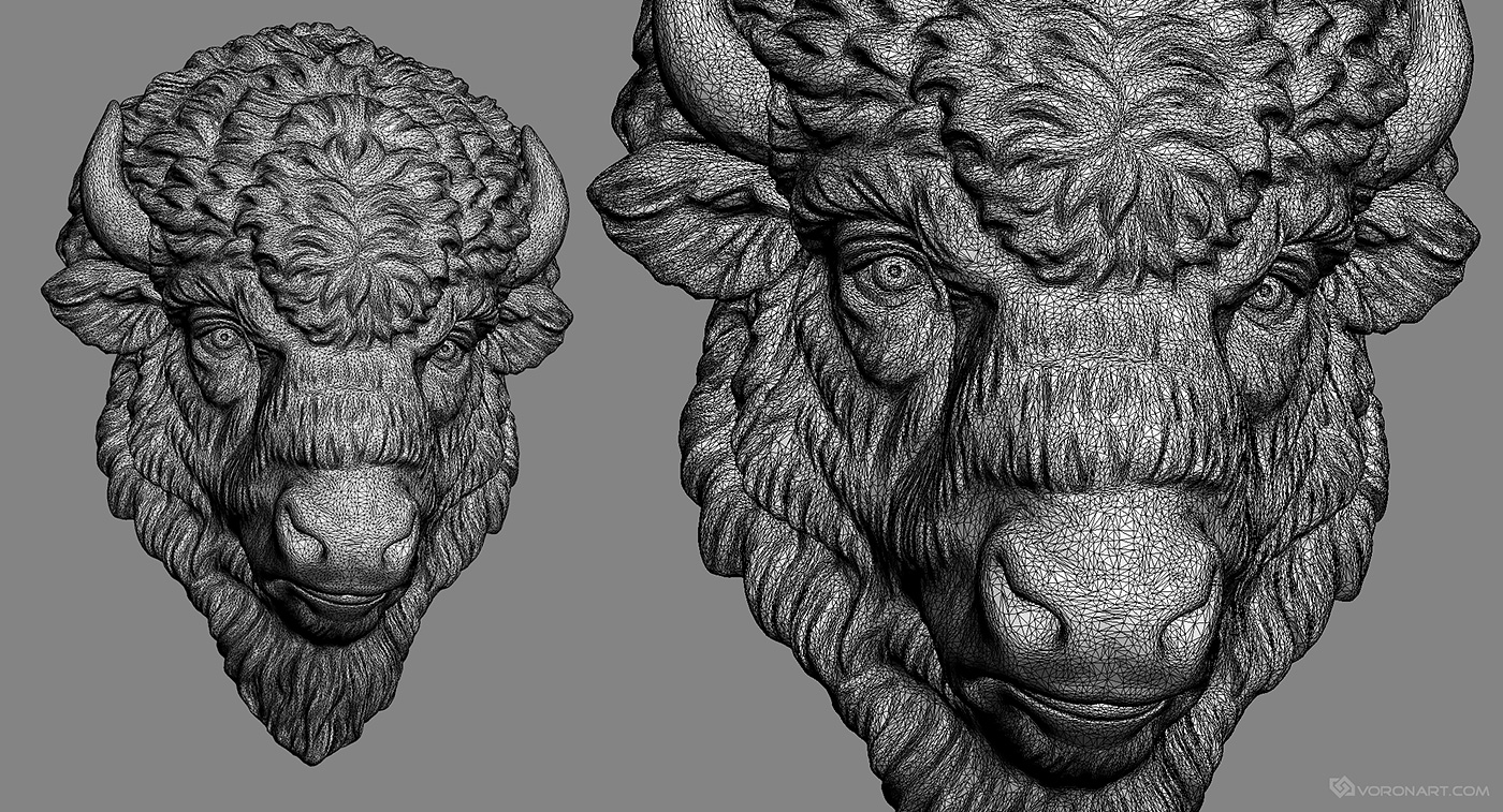 Bison face d model digital sculpture wood carved and
