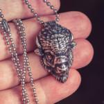 Bison head silver pendant (4cm) get it