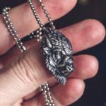 Bison face silver pendant (4cm) get it