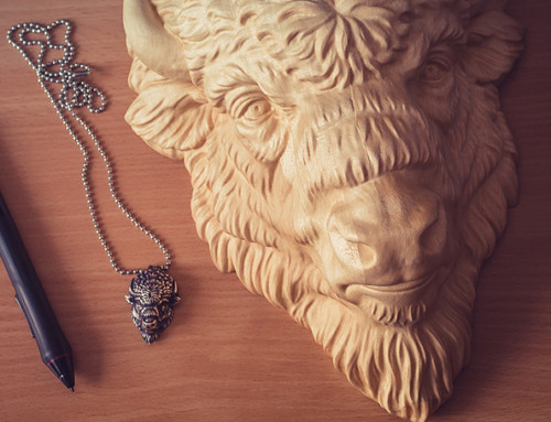 Bison face 3d model. Wood carved and silver pendant