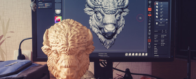 Wooden Bison head CNC carved using 5-axis CNC machine