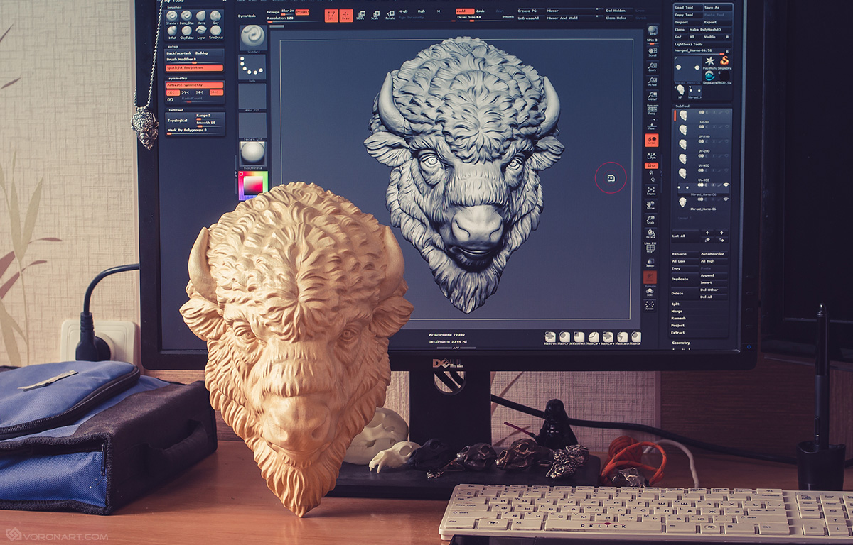 Wooden Bison head CNC carved by Boitafab
