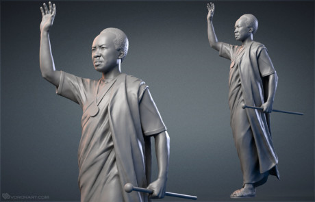 Julius Nyerere monument digital sculpture. 3D model for making a bronze statue
