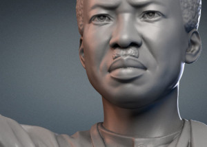 Julius Nyerere monument digital sculpture. 3D model for CNC carving in polystyrene
