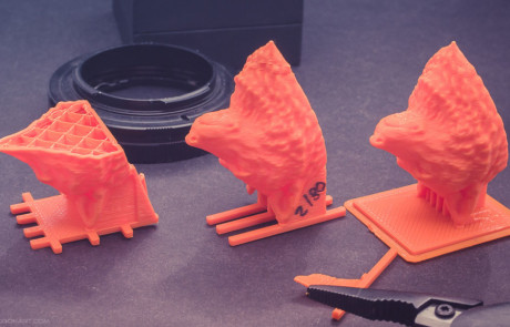 Wolf Head model 3d printing tests in PLA plastic