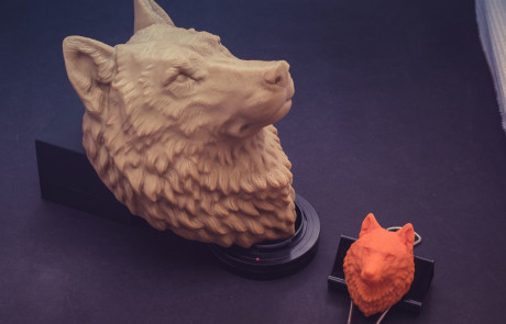 15cm and 5cm Wolf Head model 3d printed in PLA plastic